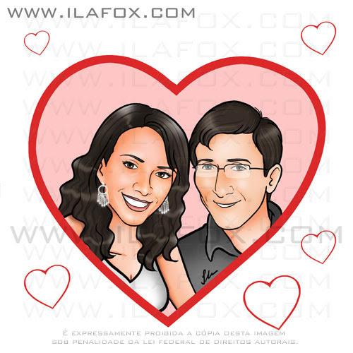 caricatura casal, dentro do coração, rosto, retrato, ana roberta e jefferson