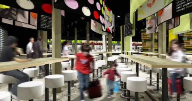 The McDonald's branch will have a bright and colourful featuring nutritional advice