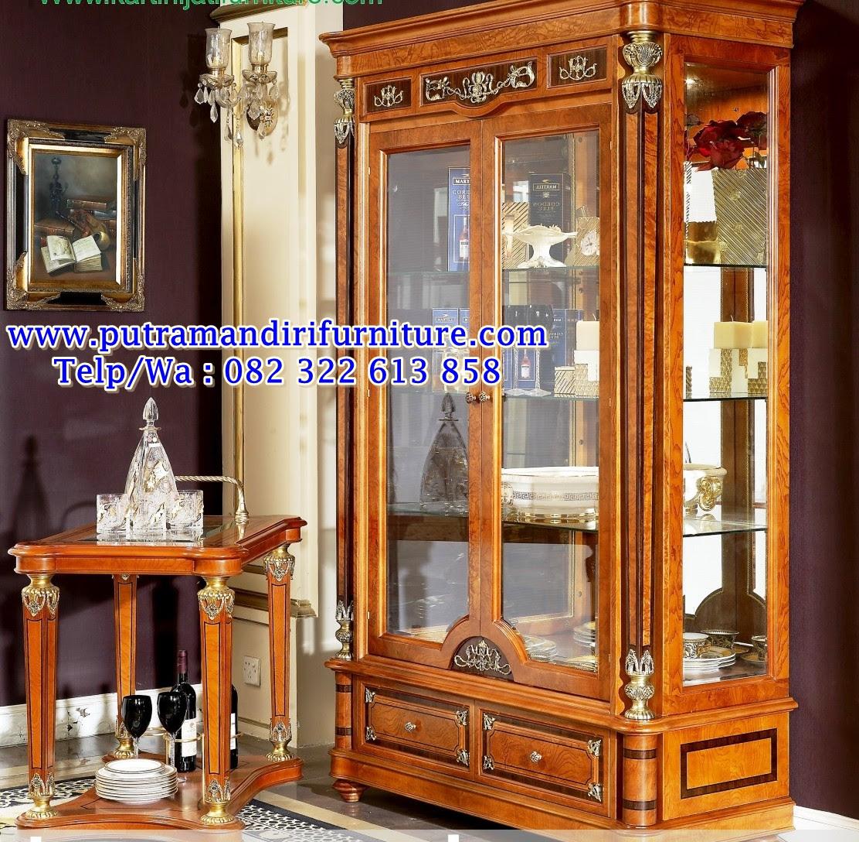 Lemari Hias Kaca 2 Pintu Mewah Desain Model Furniture Jepara Terbaru