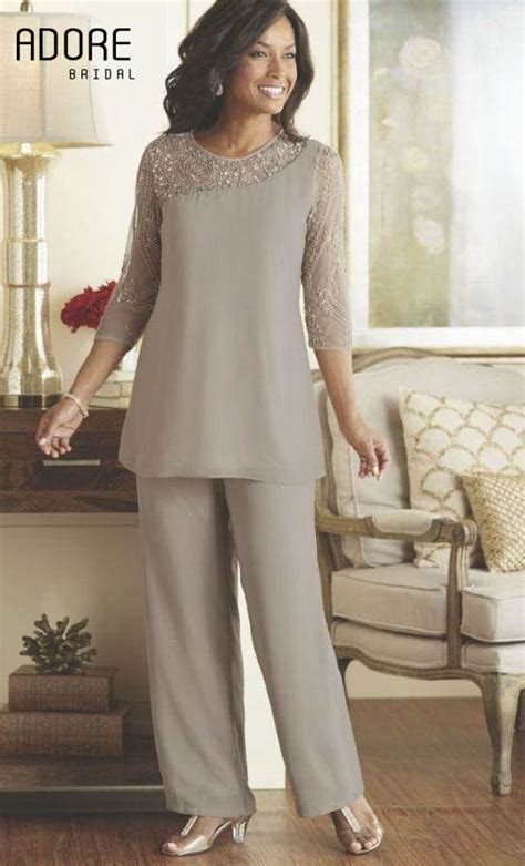 beaded gray mother bride pant suits dresses  chiffon