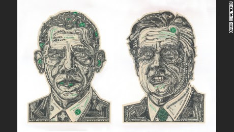 Wagner's portraits made from U.S. dollar bills