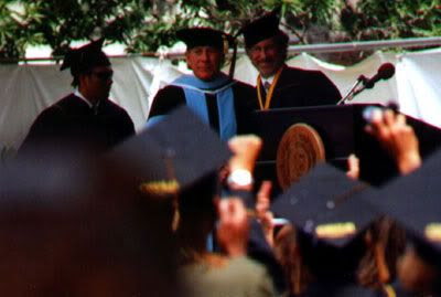 Steven Spielberg graduates from Cal State Long Beach on May 31, 2002.