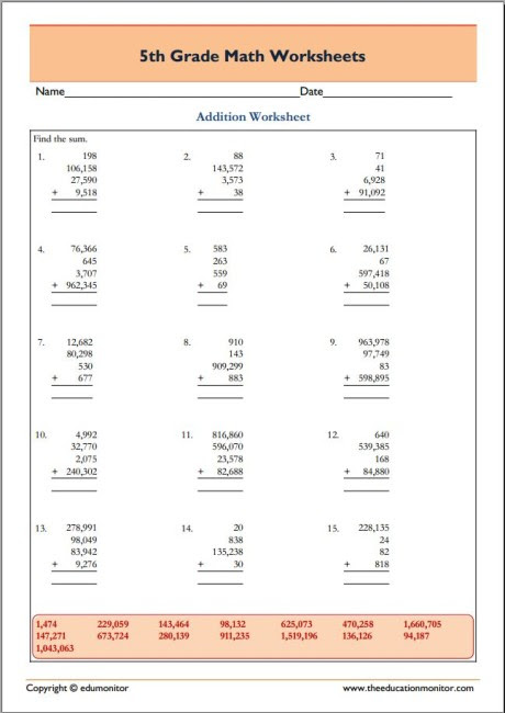Printable 5th Grade Math Worksheets EduMonitor