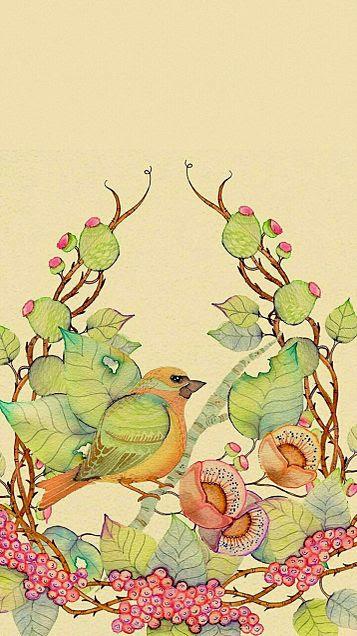 壁紙 待受 イラスト アート 和風 花 鳥 和風和柄日本的な