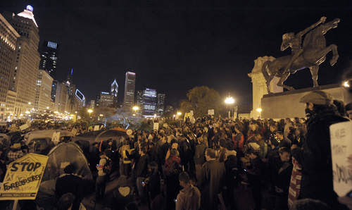 Thousands protest at Grant Park in downtown Chicago. The municipal governments around the U.S. are cracking down of the demonstrations. The movement is anti-capitalist in its character. by Pan-African News Wire File Photos