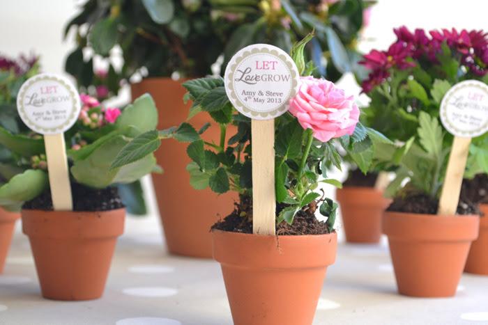 flower pot wedding favors