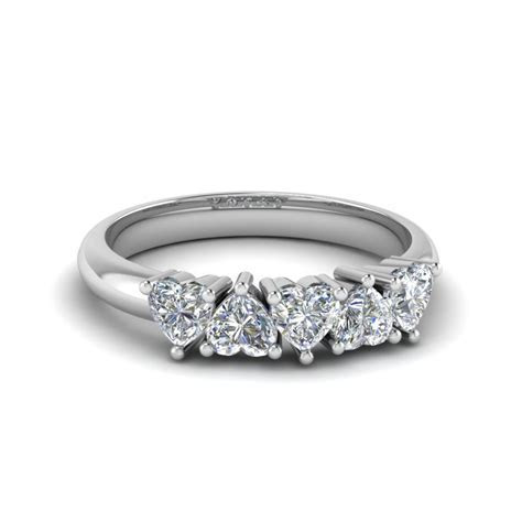 Exclusive 5 Stone Heart Shaped Anniversary Band In 14K