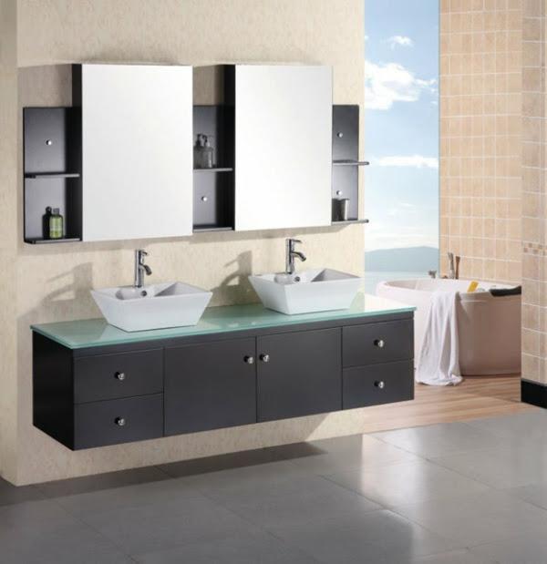 badezimmer doppelwaschbecken mit unterschrank – eckventil