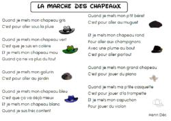 Ecrire une comptine à la manière de ...... la marche des chapeaux d'Henri Dès