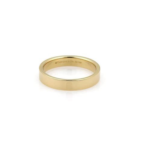 18k Yellow Gold 4mm Wide Plain Flat Wedding Band Ring Size