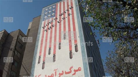 Tehran, 'Down With USA' Building Stock video footage   3114687