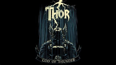 Marvel comics thor black background fan art wallpaper