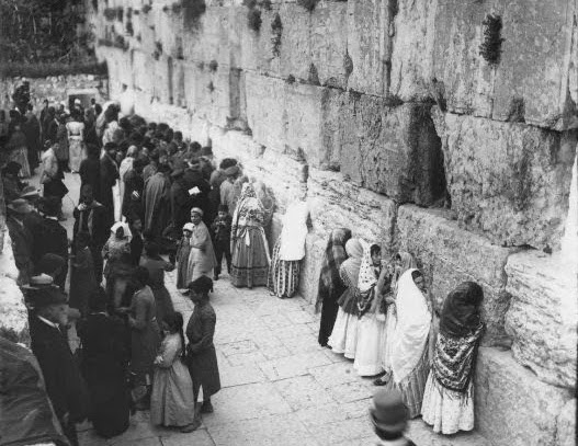 Jews at the western or wailing wall circa 1900.