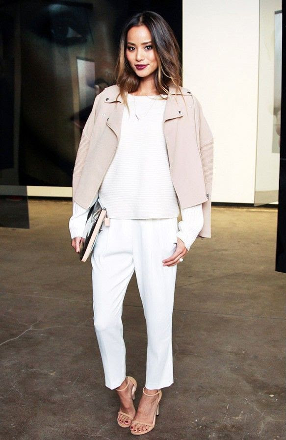 Le Fashion Blog -- Jamie Chung with burgundy lipstick, a blush pink leather moto jacket, ribbed knit, cropped white pants and Stuart Weitzman Nudist sandals -- Nars 20th Anniversary -- Via Who What Wear -- photo Le-Fashion-Blog-Jamie-Chung-Burgundy-Lipstick-Blush-Pink-Leather-Moto-Jacket-Stuart-Weitzman-Nudist-Sandals-Nars-20th-Anniversary-Via-Wh.jpg