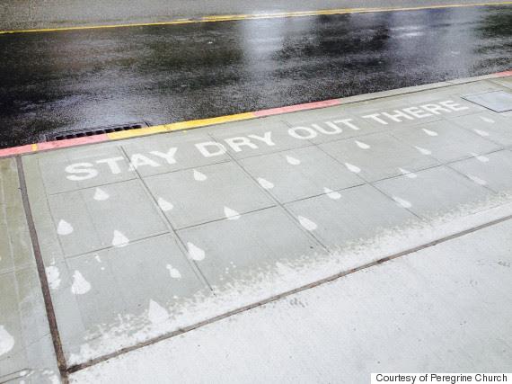 sidewalk art rain