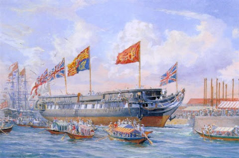 """the launch of h.m.s. """"trincomalee"""" of 46 guns at bombay, 19th october 1817 by harold wyllie"""