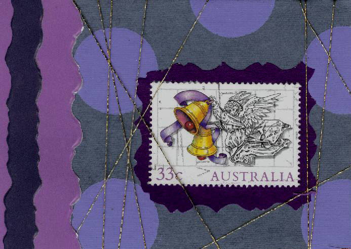 ATC Traded - Purple Polka Dot with Australian Stamp