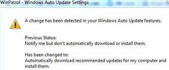 Warning if your update settings are changed