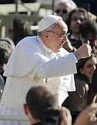 Papa Francesco il giorno della Messa d'insediamento in piazza San Pietro (Ansa)