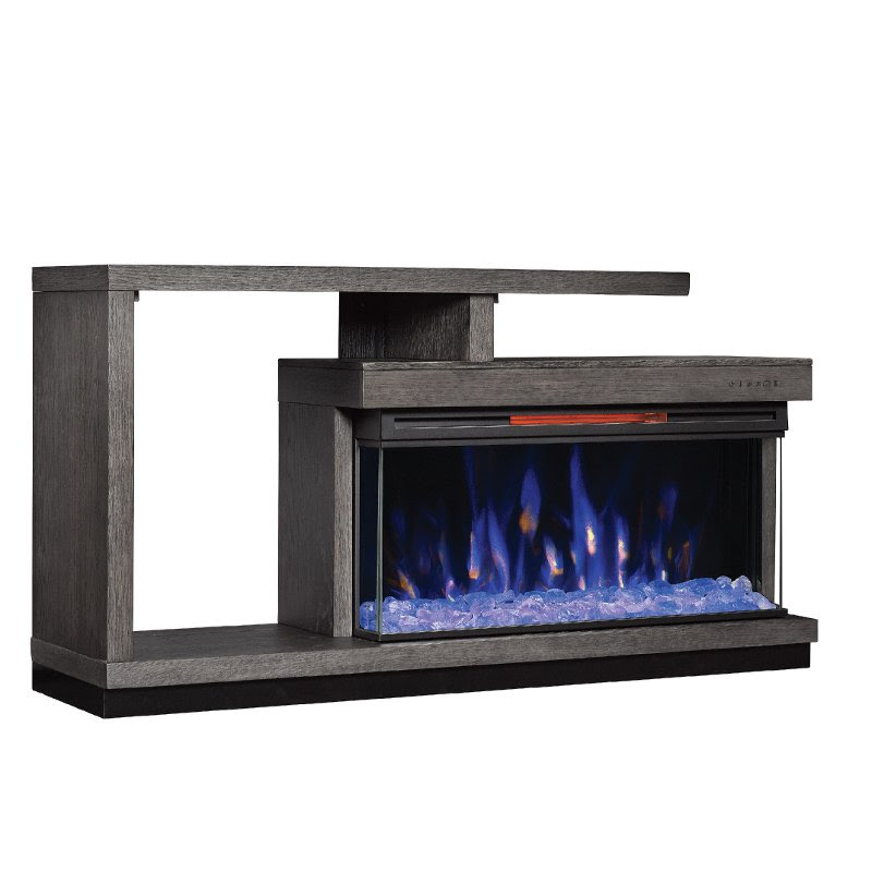 60 Inch Oak Panoramic Fireplace Tv Stand Wright