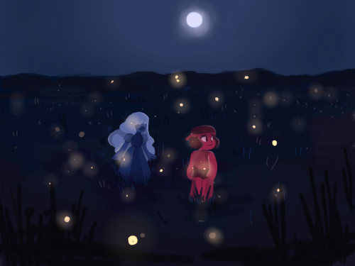 Anonymous said: Can you do a lake scene with fireflies? Also you art is lovely!! Answer: ft ruby and sapphire