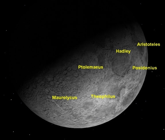 The waxing crescent moon shows sunrise over many craters. The waxing crescent moon shows sunrise over many craters.
