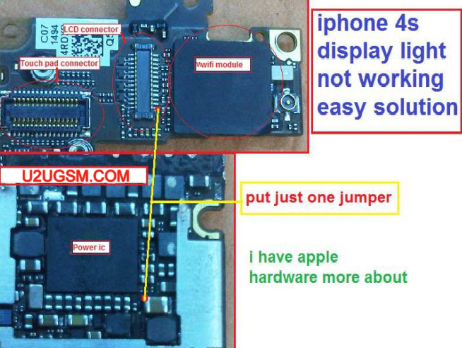 iPhone 4 LCD Display Light Jumper Solution Ways
