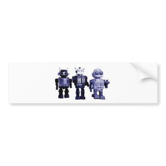 blue robots bumper sticker
