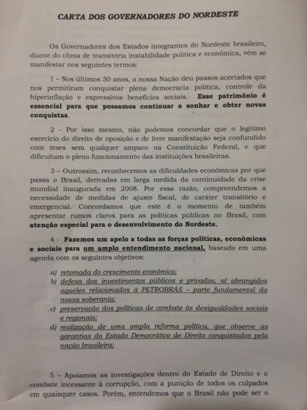 Carta governadores parte 1 (Foto: Reprodução)
