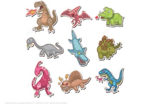 Dinosaurier Sticker Basteln Mit Papier Vorlagen Zum Ausdrucken Fur Kinder