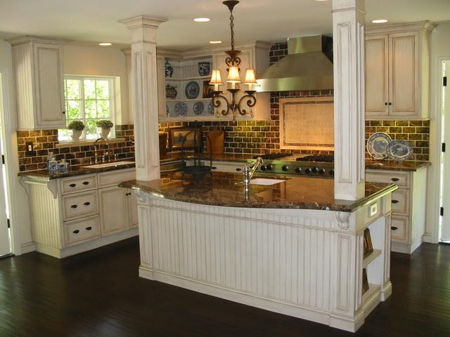 Custom Kitchen Renovation Antique Cream Glazed Cabinets