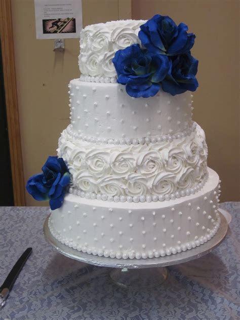 Dot And Rosette Wedding Cake   CakeCentral.com