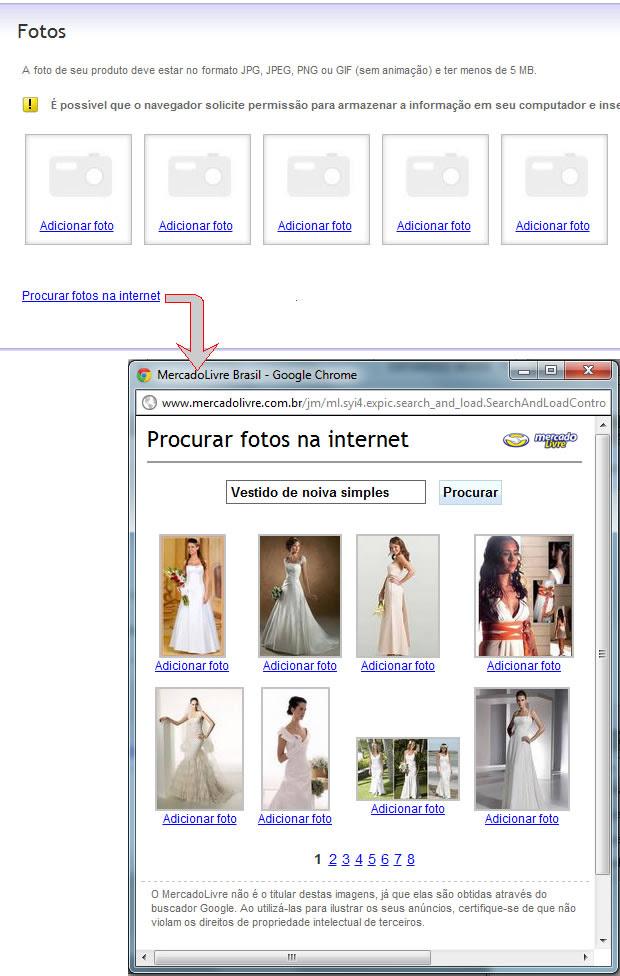 Adicionando fotos da Internet (Foto: Reprodução)