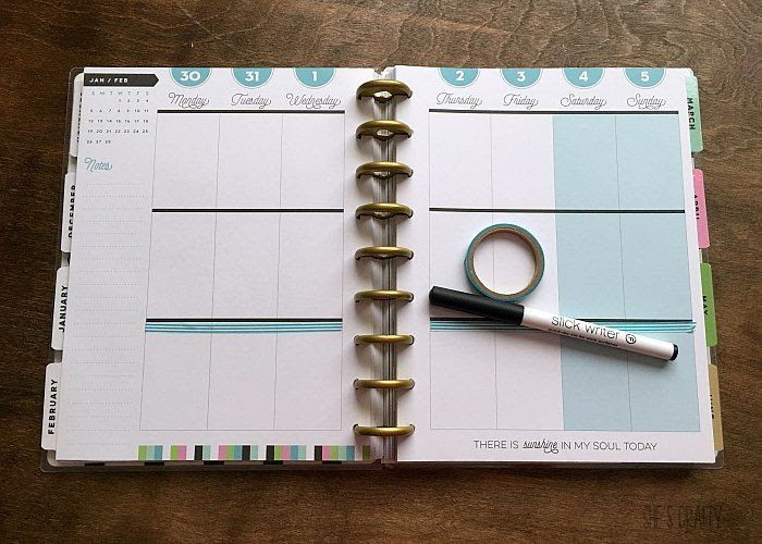 meal plan, washi tape, slick writer