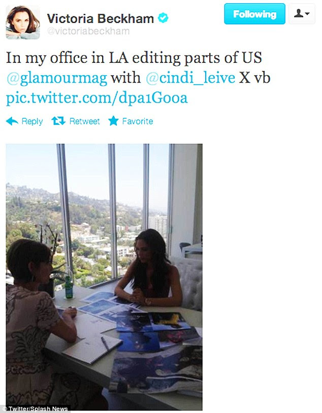 Decisions, decision: Victoria tweeted a snap of herself helping to edit US Glamour magazine in her office in Los Angeles