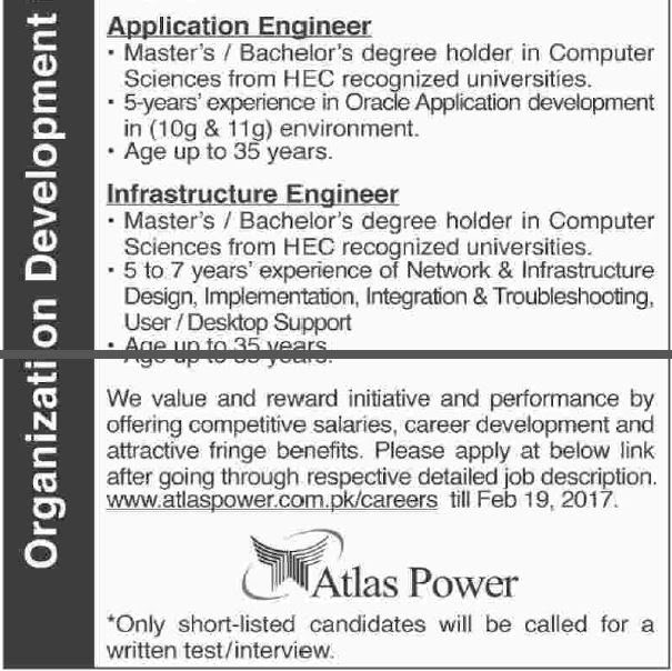 Atlas Power Limited Jobs 2017, Management Trainees, Assistant