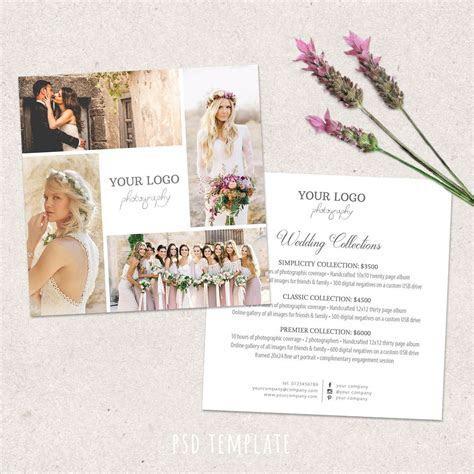 Wedding photography price list template. Marketing