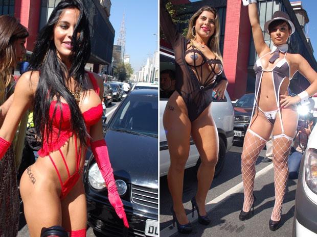 Musas posam entre os carros na avenida (Foto: Fábio Tito/G1)