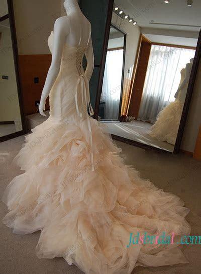 H1196 Inspired designer blush ruffled mermaid wedding dress