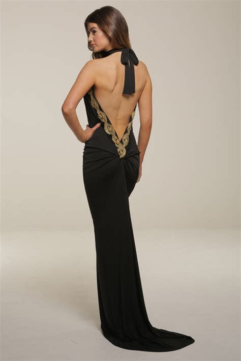 Sasha Black Backless Maxi Dress With Train   Honor Gold