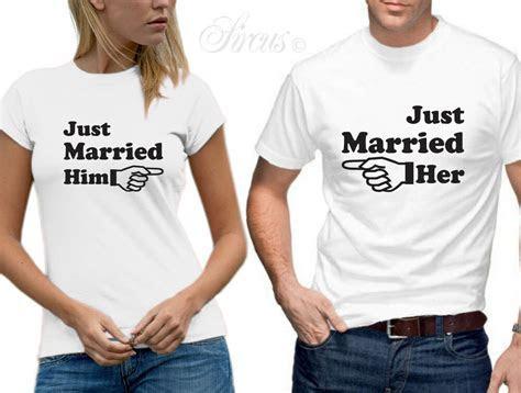 JUST MARRIED HIM HER ARROW T SHIRT SET FUNNY DESIGNER MENS