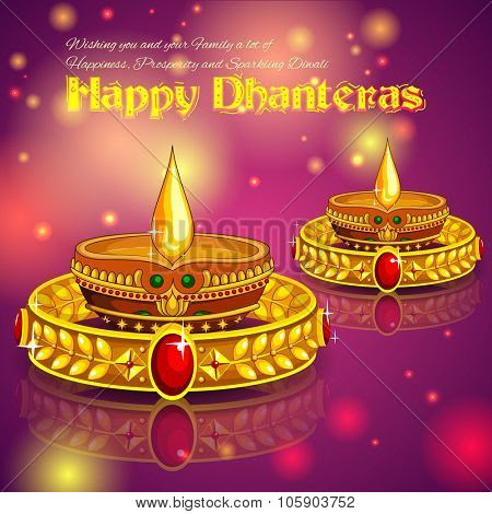 Illustration Of Happy Diwali Jewellery Promotion Background With