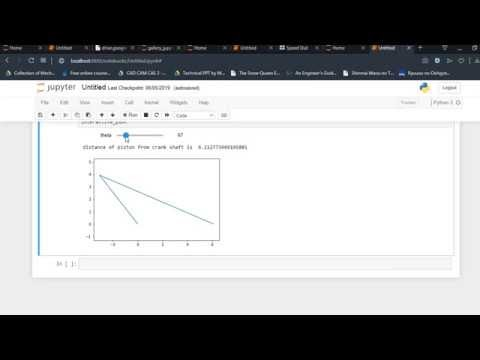 Velocity and acceleration of connecting rod crank mechanism in Python