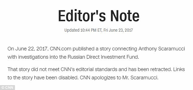CNN retracted a story on Friday about Donald Trump advisor Anthony Scaramucci, which had tied him to a Russian investment fund; three CNN journalists were forced to resign
