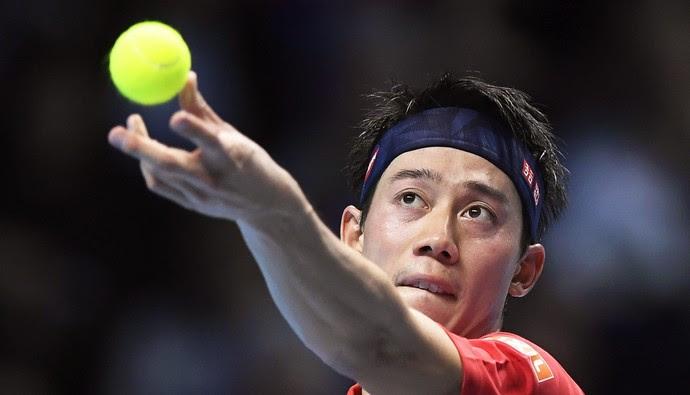 Kei Nishikori na partida contra Andy Murray pelo ATP Finals (Foto:  EFE/Will Oliver)