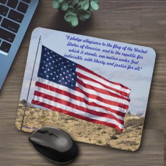 American Flag Over High Desert mousepad
