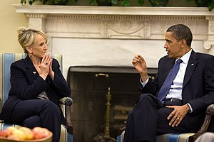 Arizona Governor Jan Brewer meeting with Presi...