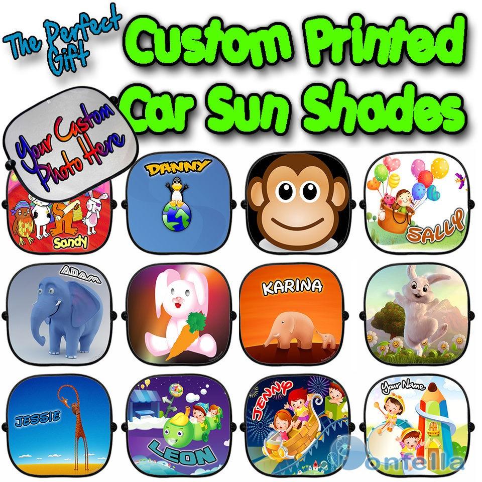 New Personalised Children Baby Car Sun Shades Window Screen Kid Full
