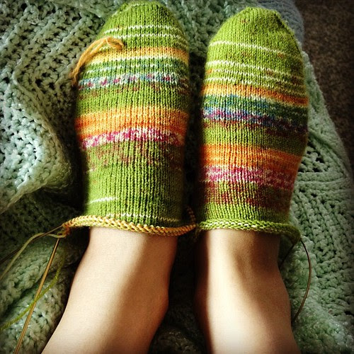 What I'm doing now: knitting on these green socks and marathon watching True Blood.