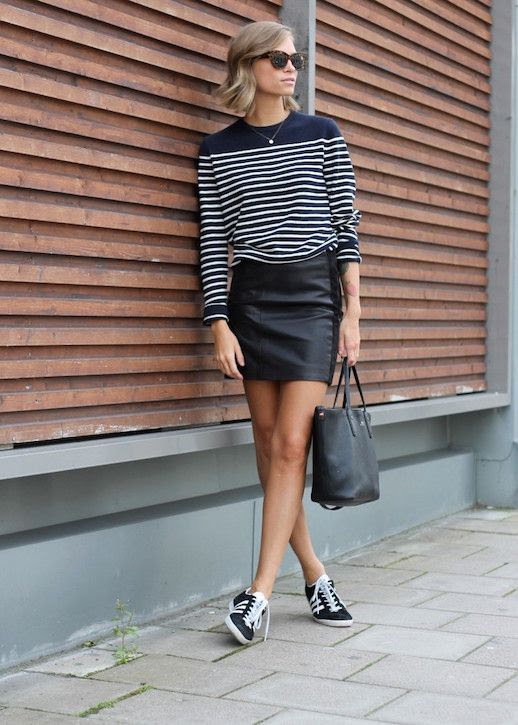 Le Fashion Blog 25 Ways To Wear Adidas Sneakers Striped Sweater Leather Mini Skirt Black And White Tine Andrea Via The Fashion Eaters